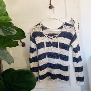 Lucky Brand Chunky Weave Lace Up Sweater